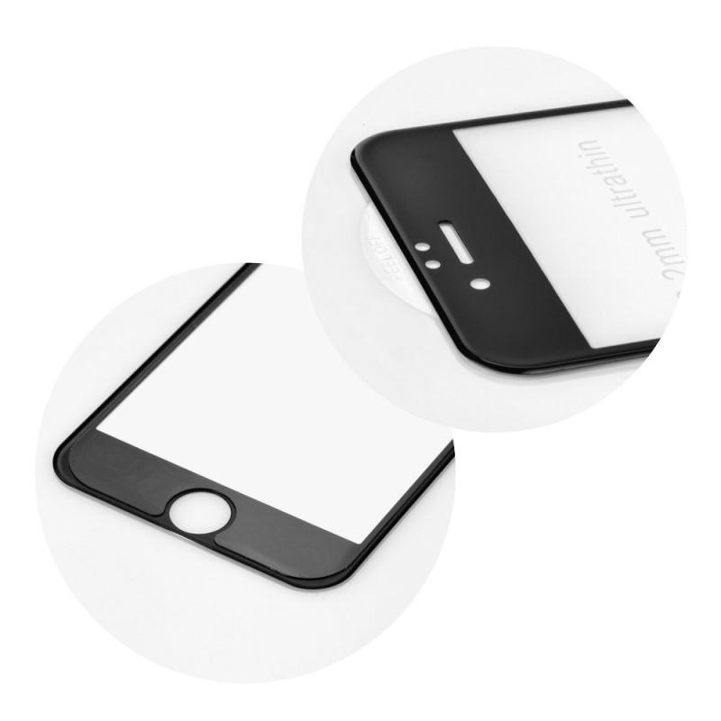 Verre trempé iPhone 7 / 8 noir contour intégral 5D bords incurvés 9H